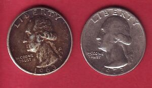 R  USA QUARTERS LOT 25 CENTS SILVER 1963 & 25 CENTS 1973 VF/VF  DETAILS