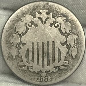 1868 5C SHIELD NICKEL     PROBLEM FREE GREAT LOOKING COIN
