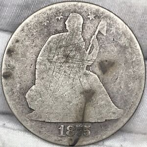 1875 SEATED LIBERTY HALF DOLLAR ||| PROBLEM FREE GREAT LOOKING ORIGINAL COIN