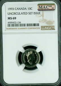 1993 CANADA 10 CENTS NGC MAC MS 69 PQ FINEST GRADE SPOTLESS  ..