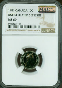 1981 CANADA 10 CENTS NGC MAC MS 69 PQ FINEST GRADE SPOTLESS POP 2 ..