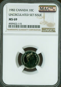 1982 CANADA 10 CENTS NGC MAC MS 69 PQ FINEST GRADE SPOTLESS  ..
