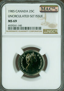 Click now to see the BUY IT NOW Price! 1985 CANADA 25 CENTS NGC MAC MS69 PQ FINEST GRADE SPOTLESS   ..