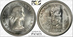 Click now to see the BUY IT NOW Price! CANADA 1958 ELIZABETH II DOLLAR. PCGS MS 65. 3 039 630 MINTAGE.