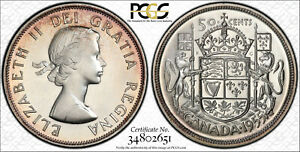 Click now to see the BUY IT NOW Price! CANADA 1955 ELIZABETH II FIFTY CENTS 50 CENTS. PCGS PL 66.