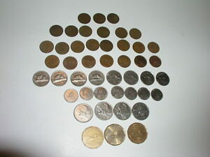 46 COINS CANADA $1 25C 10C 5C & 1CENT 1940 TO 2009 NO SILVER. FACE $5.34