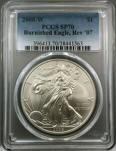Click now to see the BUY IT NOW Price! 2008 W $1 BURNISHED SILVER EAGLE REV '07 PCGS SP70   MINT ERROR    COIN