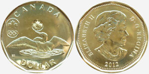 2012 CANADA OLYMPIC $1 LOON BU UNC DOLLAR LUCKY LOONIE COIN FROM MINT ROLL