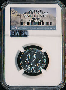 Click now to see the BUY IT NOW Price! 2013 S MOUNT RUSHMORE QUARTER NGC MAC MS68 EARLY RELEASES DMPL..