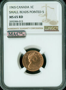 Click now to see the BUY IT NOW Price! 1965 TYPE 1 SM BD PT 5 CANADA CENT NGC MAC MS65 RD PQ2ND  FINEST 4 COINS KNOWN..