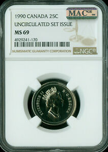 1990 CANADA 25 CENTS NGC MAC MS69 PQ FINEST GRADE SPOTLESS   ..