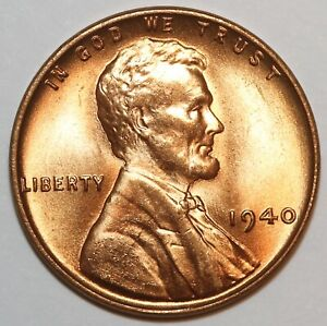 1940 P LINCOLN WHEAT CENT PENNY  GEM NICE LUSTER FROM OBW 0005