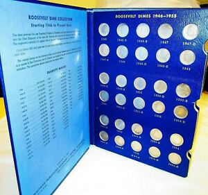 COMPLETE SET SILVER ROOSEVELT DIMES 1946 1972 | 60 IN ALL WHITMAN FOLDER