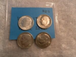 LOT OF 4 UNCIRCULATED ROOSEVELT DIMES 1955D 1964 1985S & 2012P  RD2