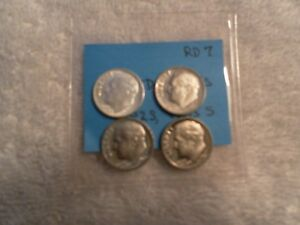 LOT OF  4 UNCIRCULATED ROOSEVELT DIMES 1955 D  1980S 1982S 1985 S   RD7