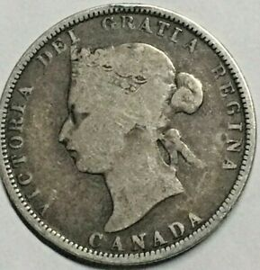 1881  H CANADA QUARTER AND LARGE CENT VICTORIA  2  COINS