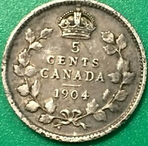 1904   CANADIAN 92.5   SILVER NICKEL CANADA EDWARD VII