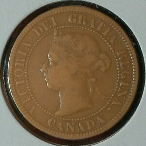 CANADA  CENT  KM 7  F/VF  1891  SMALL DATE LARGE LETTERS