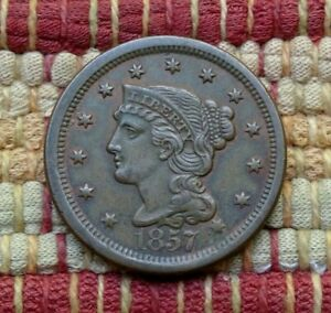 KEY DATE 1857 BRAIDED HAIR LARGE CENT AU     LARGE DATE     HINTS OF RED