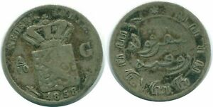 1858 NETHERLANDS EAST INDIES 1/10 GULDEN SILVER COLONIAL COIN NL13162.3C