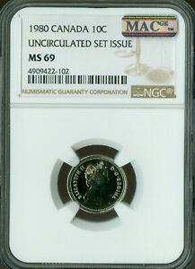 1980 CANADA 10 CENTS NGC MAC MS 69 PQ FINEST GRADE SPOTLESS POP 2 ..