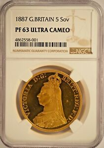 Click now to see the BUY IT NOW Price! 1887 PROOF GOLD 5 FIVE POUND QUINTUPLE SOVEREIGN NGC PF63ULTRA CAMEO