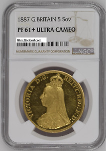 Click now to see the BUY IT NOW Price! GREAT BRITAIN 1887 VICTORIA GOLD 5 POUNDS PF 61  ULTRA CAMEO NGC