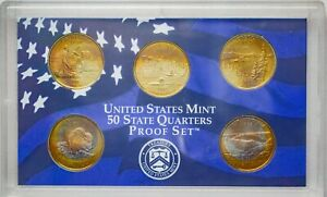 Click now to see the BUY IT NOW Price! 2005 S USA STATE QUARTERS PROOF SET 5 COINS GEM UNC TONED BU CHOICE COLOR  DR