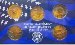 Click now to see the BUY IT NOW Price! 2003 S USA STATE QUARTERS PROOF SET 5 COINS COLOR GEM UNC MOSNTER TONED BU  DR