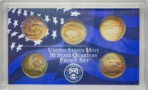 Click now to see the BUY IT NOW Price! 2005 S USA STATE QUARTERS PROOF SET 5 COINS CHOICE TONED GEM BU UNC COLOR  DR