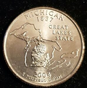 1  2004 P MICHIGAN QUARTER  FRESH FROM AN ORIGINAL BANK ROLL FREE SHIP