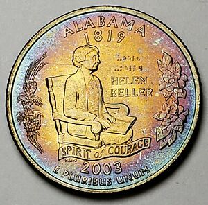 Click now to see the BUY IT NOW Price! 2003 D ALABAMA STATE QUARTER BEAUTIFULLY COLOR TONED MUST HAVE GOOD CONDITION