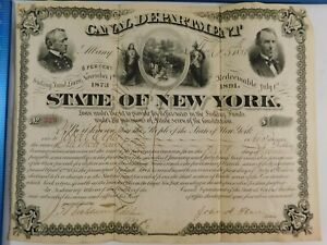 ANTIQUE 1873 STATE OF NEW YORK 18 YEAR CANAL NOVEMBER SINKING FUND LOAN