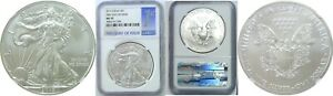 2015 $1 AMERICAN SILVER EAGLE NGC MS70 FIRST DAY OF ISSUE 1ST BLUE LABEL 338