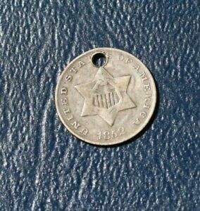 1852 THREE CENT SILVER  VG  DETAILS    HOLED