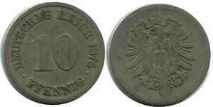 10 PFENNIG 1875 GERMAN EMPIRE GERMANY DB301CW