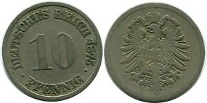 10 PFENNIG 1875 A GERMAN EMPIRE GERMANY DB282GW