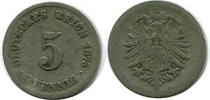 5 PFENNIG 1875 A GERMAN EMPIRE GERMANY DB137GW