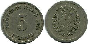 5 PFENNIG 1875 A GERMAN EMPIRE GERMANY DB172GW