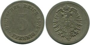 5 PFENNIG 1875 A GERMAN EMPIRE GERMANY DB222GW