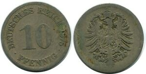 10 PFENNIG 1875 GERMAN EMPIRE GERMANY DB288GW