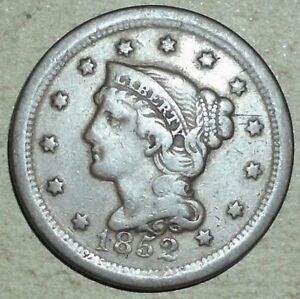 1852 CORONET LARGE CENT BRAIDED HAIR LIBERTY COPPER PENNY FINE