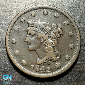 1842 BRAIDED HAIR LARGE CENT     MAKE US AN OFFER   P1820
