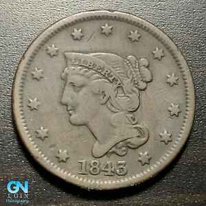 1843 BRAIDED HAIR LARGE CENT     MAKE US AN OFFER   P1821