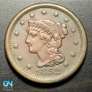 1852 BRAIDED HAIR LARGE CENT     MAKE US AN OFFER   P1826