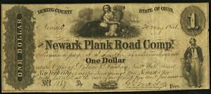 1851 $1 THE NEWARK PLANK ROAD COMPY NEWARK OH   OBSOLETE NOTE SN1367