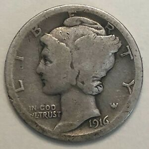 1916 MERCURY DIME       FREE COMBINED SHIPPING