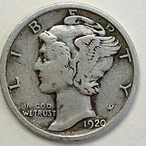 1920 MERCURY DIME   VG / F           FREE COMBINED SHIPPING