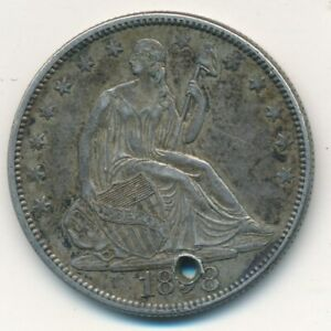 1858 SEATED LIBERTY SILVER HALF DOLLAR LIGHTLY CIRCULATED WITH HOLE SHIPS FREE