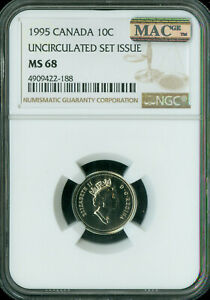 1995 CANADA 10 CENTS NGC MAC MS68 PQ 2ND FINEST GRADE SPOTLESS  ..